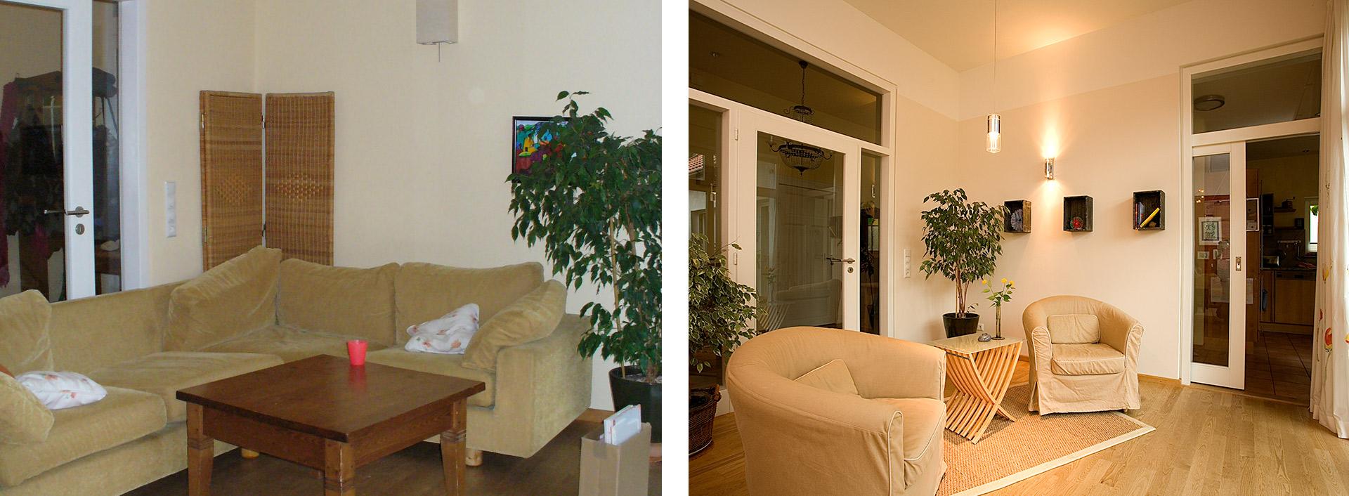 Vorher-Nachher-Wohnzimmer